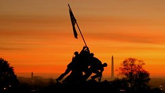 Sunrise at the Iwo Jima Memorial