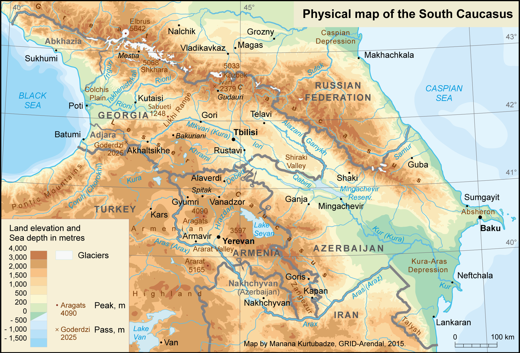 Physical map of the South Caucasus GRIDArendal