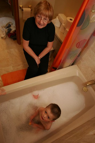 birds eye view of bathtime with grandma
