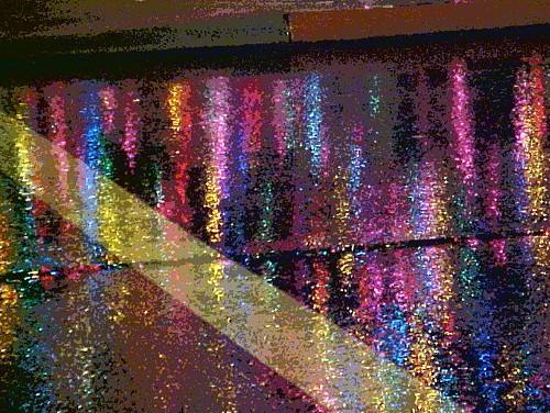 Holiday Lights on Rainy Pavement, Woodburn, Oregon ~ EXPLORED