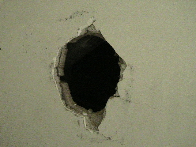 Cutting A Hole In Wall : Hole cut in stairwell wall plaster sucks okay here s