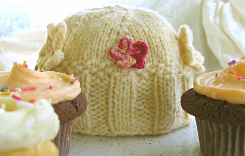 Cupcake baby hat with real cupcakes