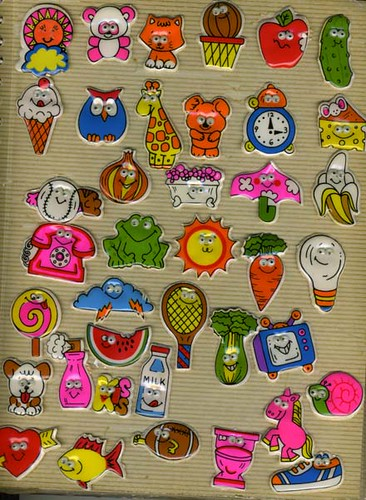 vintage google-eye puffy stickers