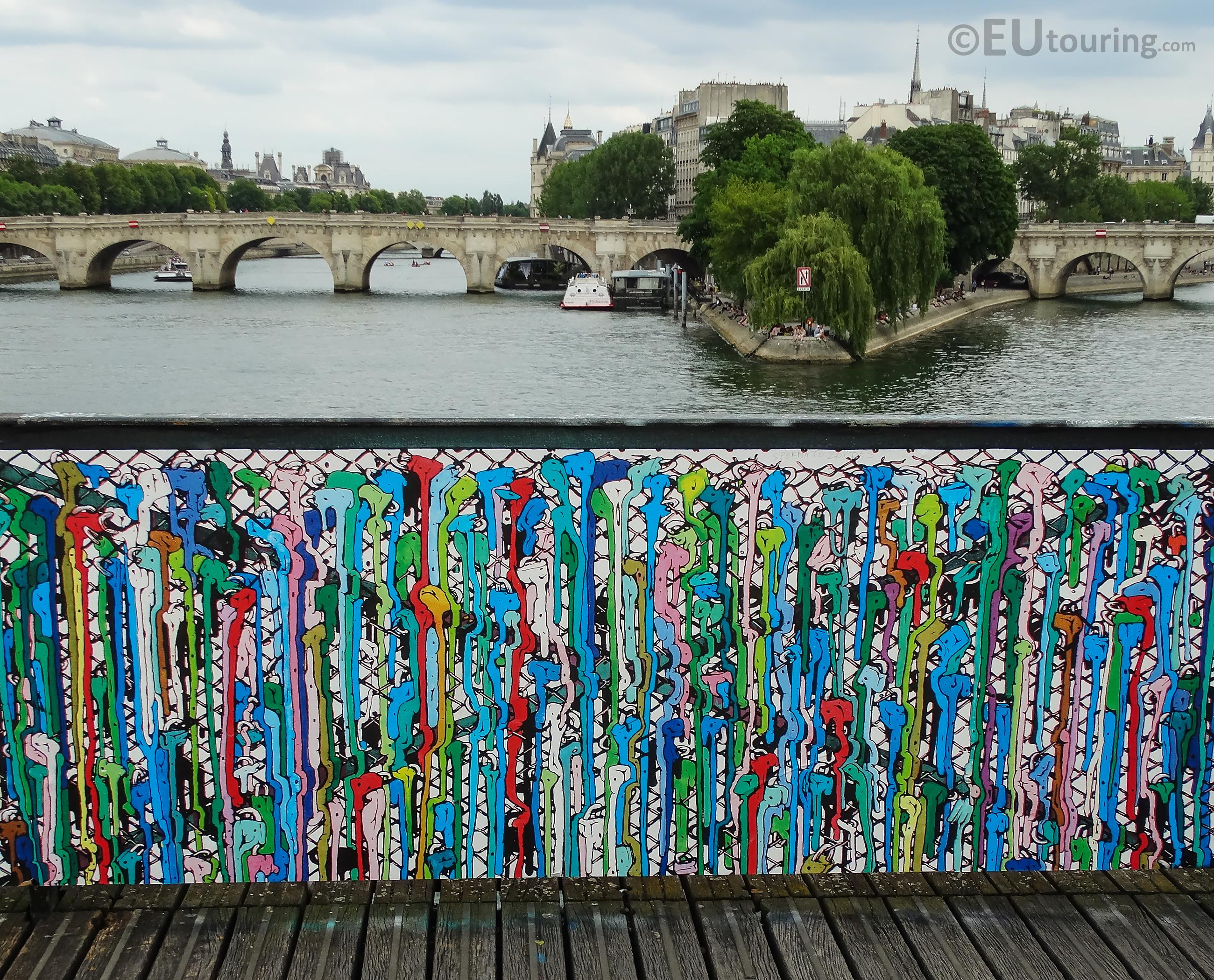 Painted locks on Pont des Arts