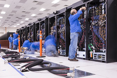 Installation of Trinity supercomputer's cooling system