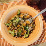 lentils and quinoa with butternut squash and broccoli