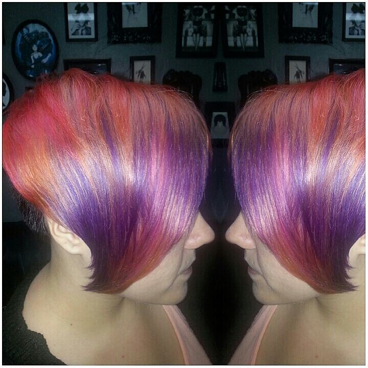 Layered Hibiscus Toned Vibrant Hair Color Layered Hibiscus Toned