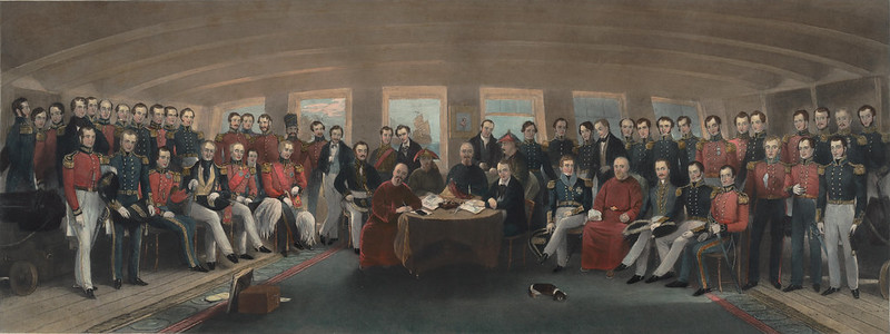 The signing of the Treaty of Nanking aboard HMS Cornwallis