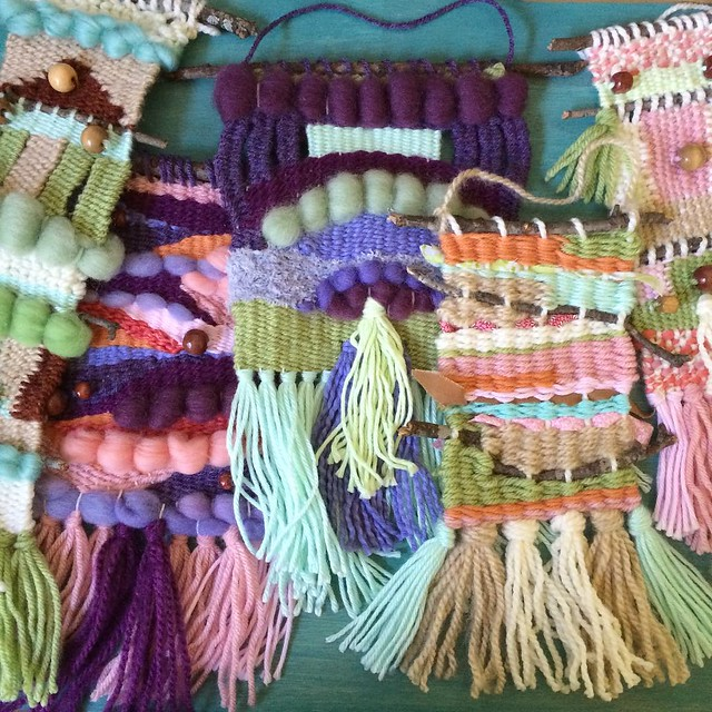A bunch of colorful weavings in my etsy shop right now!  #rainbow up your walls. :) #weaving #etsy www.littledear.etsy.com