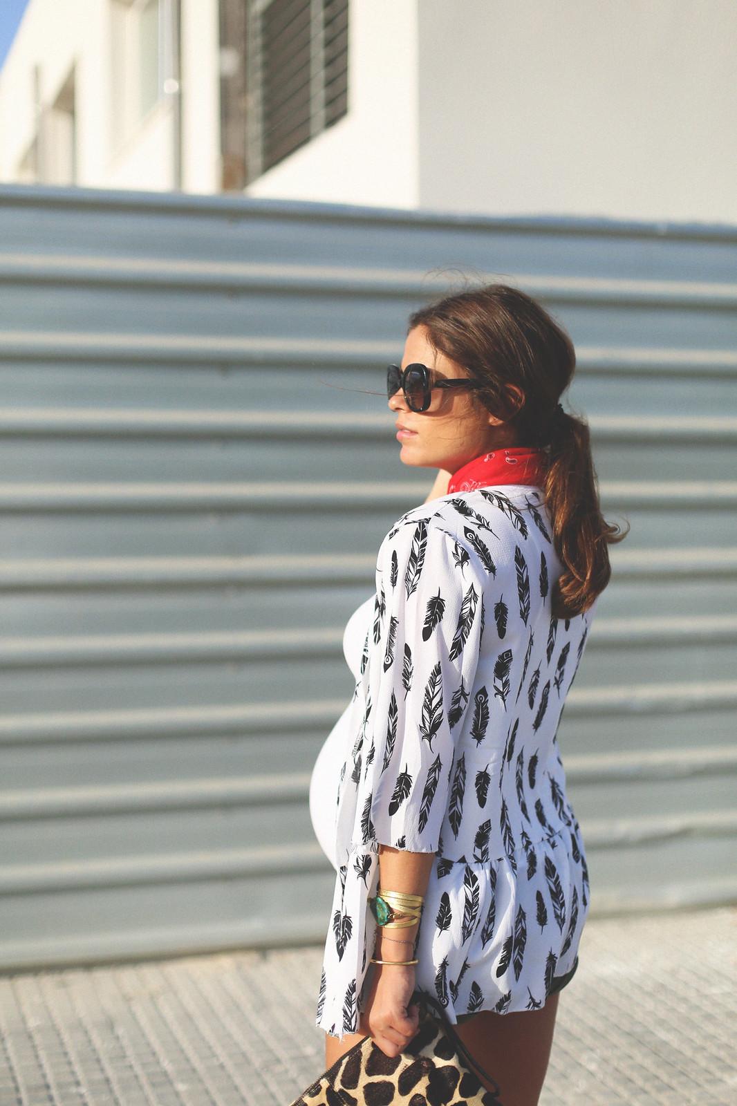 4. boho jacket green shorts  - jessie chanes - pregnancy