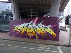 Graffiti street art at the Hurst Street junction with Smallbrook Queensway