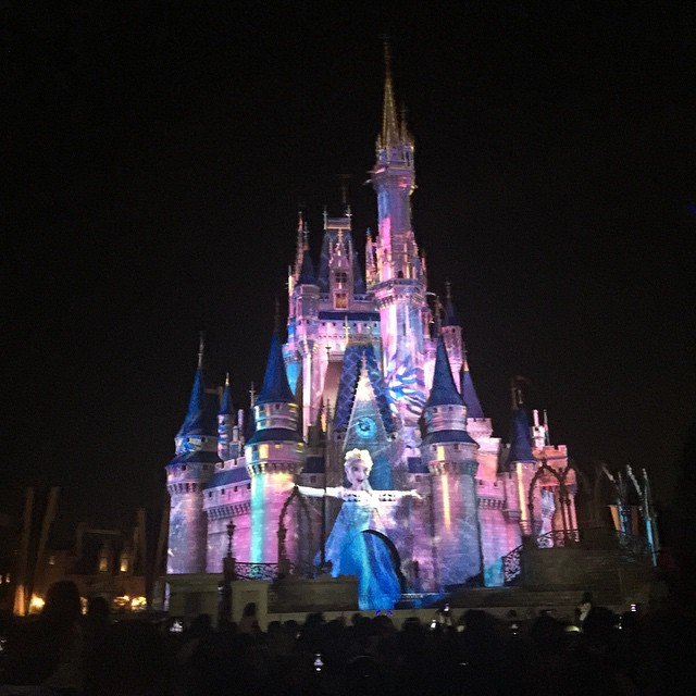 We were really stretching it keeping the kids up for the parade and fireworks, but seeing Elsa on the castle was worth it. #Elsa #magickingdom #Disney