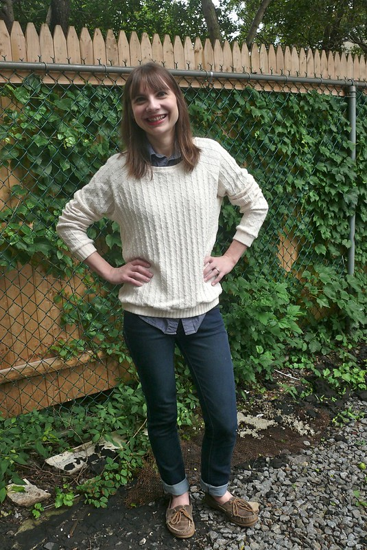 Grainline Studio Linden Sweatshirt in O! Jolly! knit | Ginger Makes