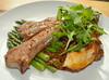 Grilled Lamb Cutlets, New Asparagus & Stuffed Baked Potato