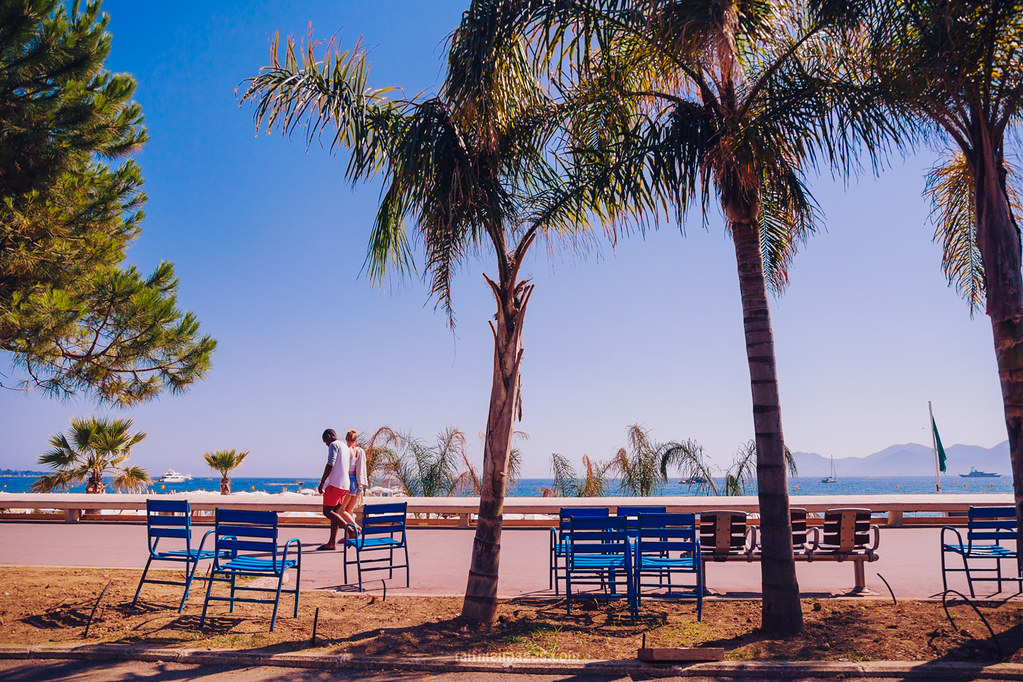 Beautiful nature and the typical blue chairs of the Riviera
