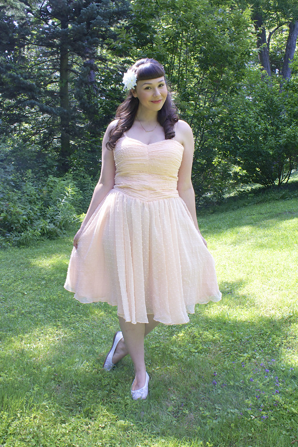 unique vintage peach dress
