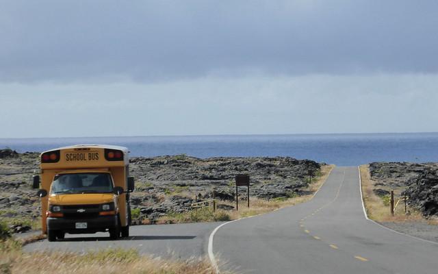 School bus along the lava fields