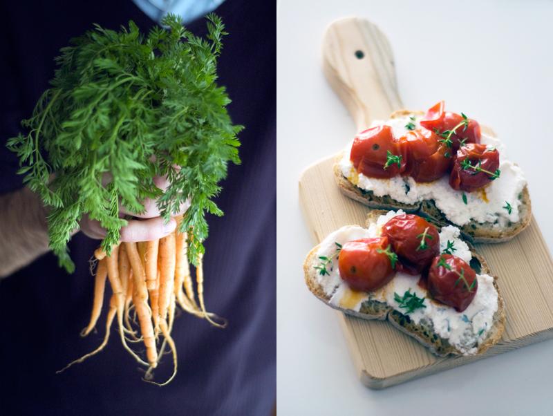 Tartines, cenouras e hummus de pimento + ricotta e tomate assado
