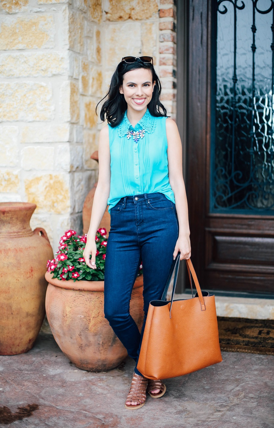 austin texas, austin fashion blog, austin fashion blogger, austin fashion, austin fashion blog, high waist jeans, statement necklace, floral statement necklace, happiness boutique, casual summer outfit, nordstrom reversible tote bag