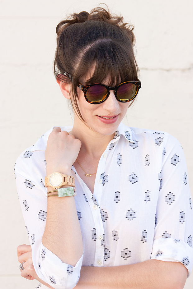 Jord Watch, Loft Aztec Print Shirt, Loft Sunglasses