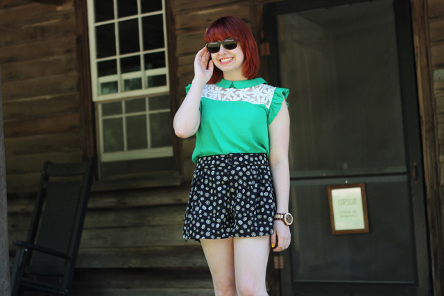 Girly Ruffle Sleeve Shirt with Patterned Flippy Shorts