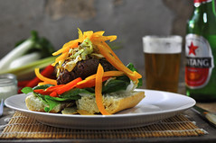 Thai hamburger with Bintang