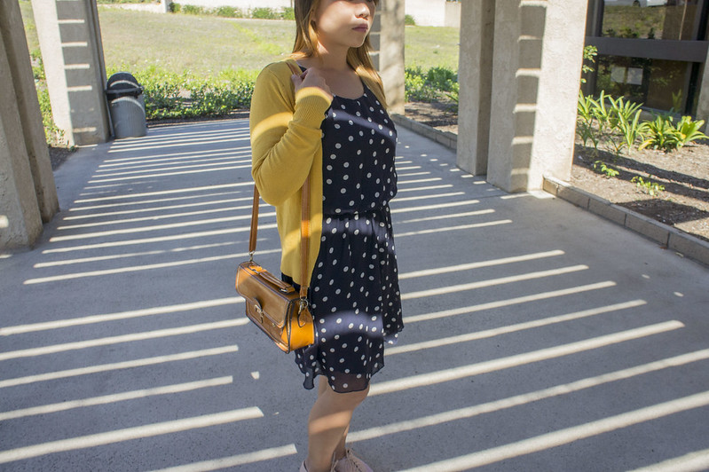 Blue Polka Dot Dress with Yellow Cardigan 5