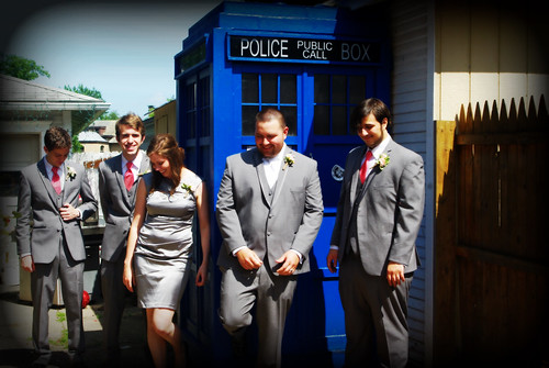 calvin and crew at the TARDIS