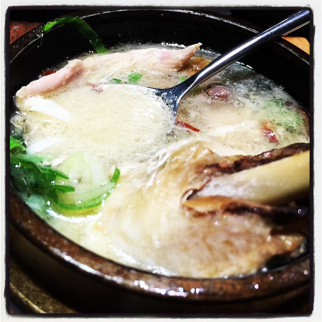 Samgyetang and traditional dishes all Hometown Buffet-style in Korea.