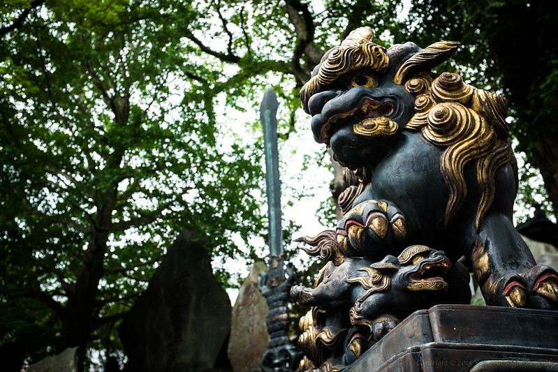 guardian lion-dogs at Shinto shrine