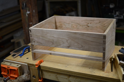Dry-fit case with drawer divider installed