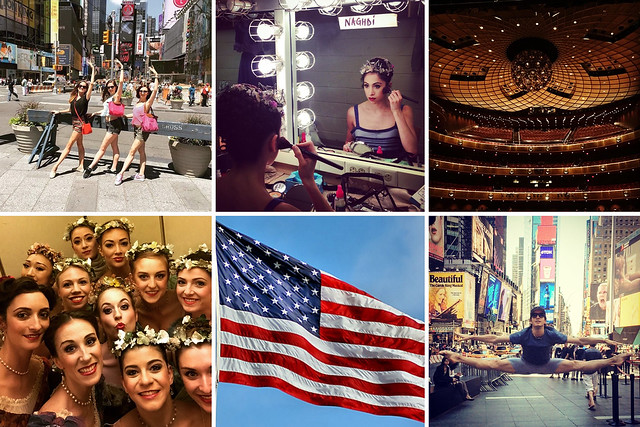 Royal Ballet dancers' photographs from New York © (Clockwise from top left) Leticia Stock, Yasmine Naghdi, Meaghan Grace Hinkis, Sander Blommaert, Paul Kay, Meaghan Grace Hinkis, 2015