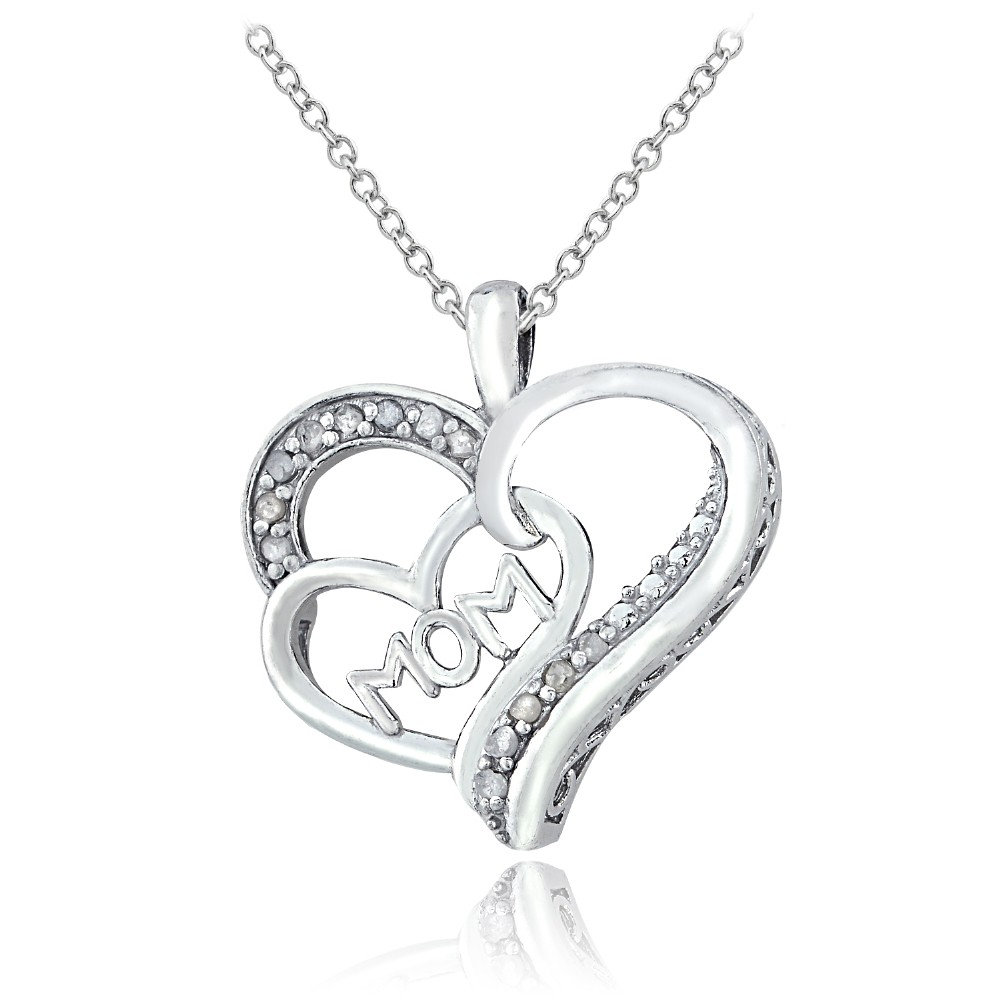 sterling silver 1 8ct diamond mom double heart necklace. Black Bedroom Furniture Sets. Home Design Ideas