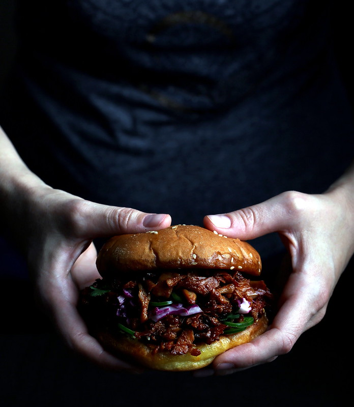 Pulled Jackfruit Sandwiches with Red Cabbage Slaw