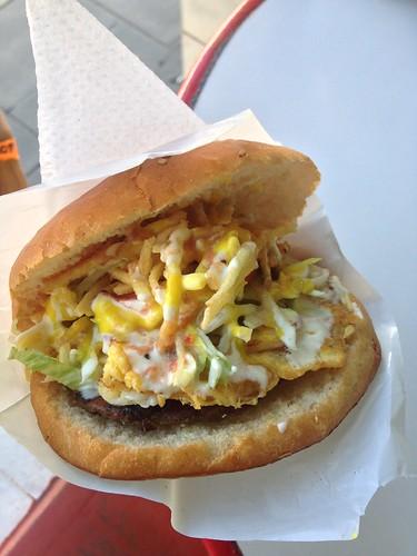 Festi Burger for a Dollar US.  Arequipa, Peru.