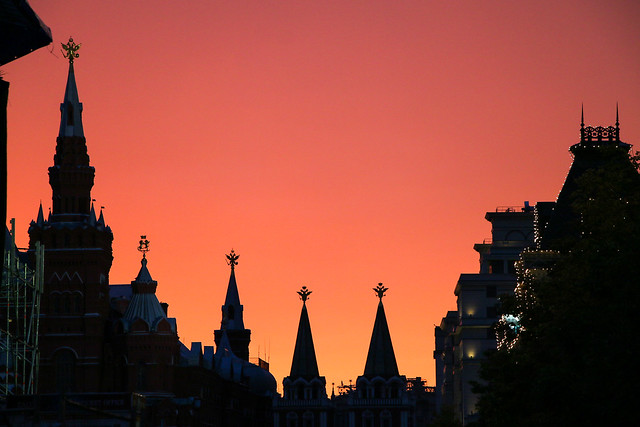 Sunset colors view from Red square, Moscow, Russia モスクワ、赤の広場の夕焼け