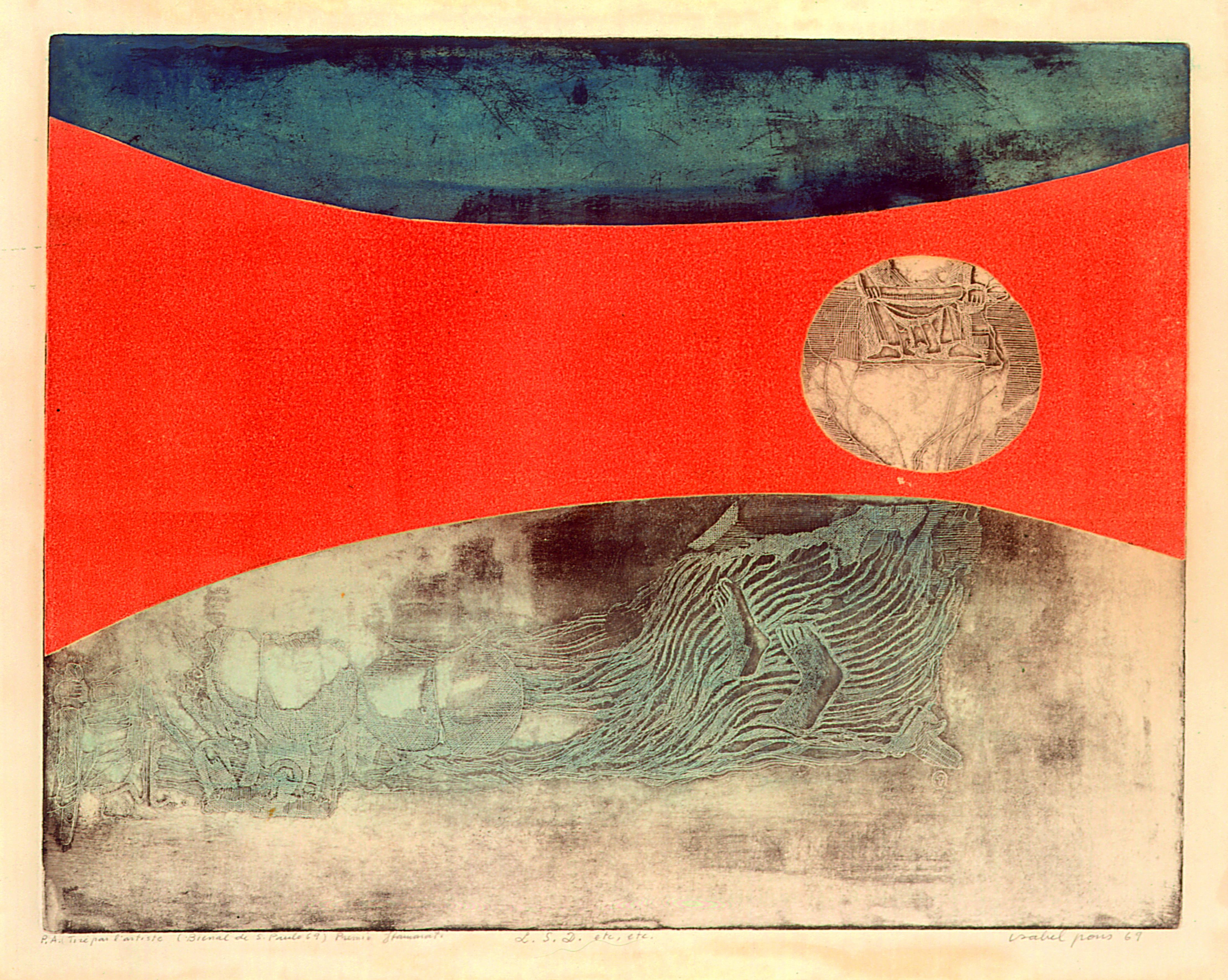 L.S.D. Autor: Isabel Pons Ano: 1969 Técnica: Calcografia. Água-forte e Água-tinta (P.A.) Dimensão: 39cm x 49cm