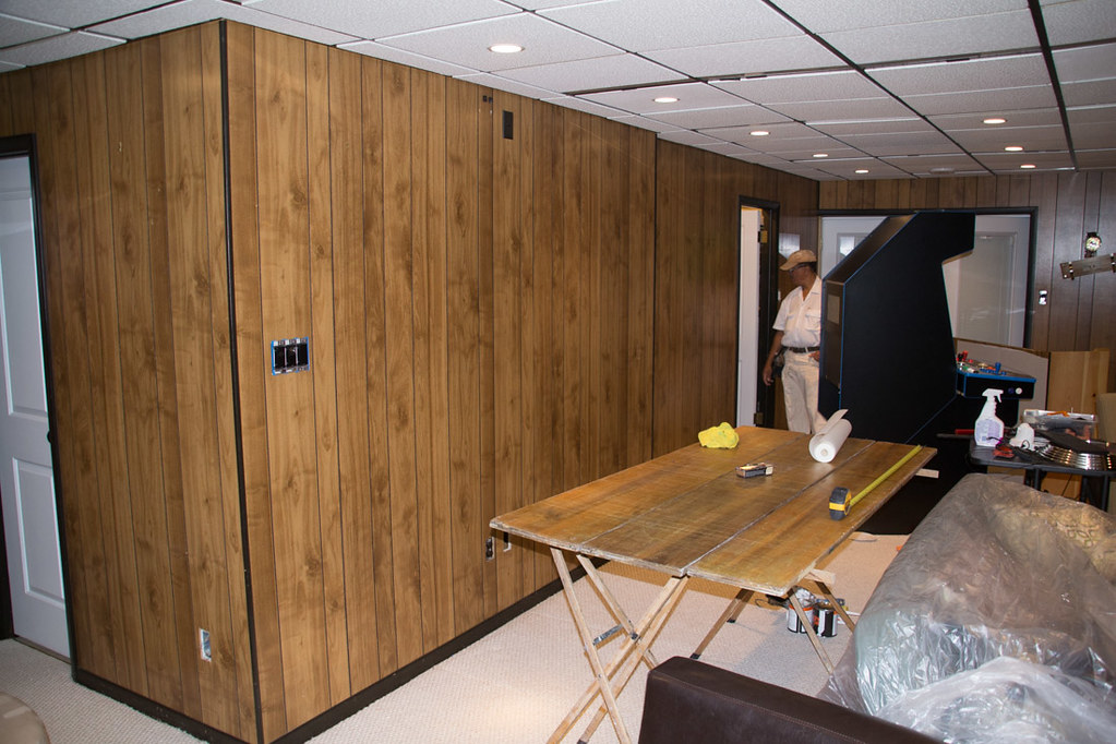 Basement wood paneling
