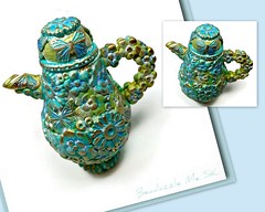 polymer clay Butterflies & Flowers Turquoise Patina Miniature Teapot
