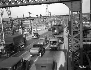 Traffic on West Spokane Street Bridge, 1930