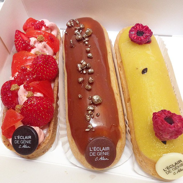 Thrilled to discover a new location of @leclairdegenieofficiel in my 'hood (122 rue Montmartre 75002). Couldn't resist a Barlette Fraise, Éclair Caramel Beurre Salé and an Éclair Passion-Framboise. @chezlouloufrance you've been warned - you're my official