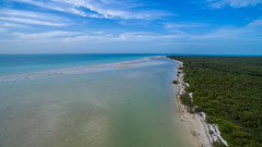 Aerial view of a sandbank in the Gulf of Mexico near Holbox island