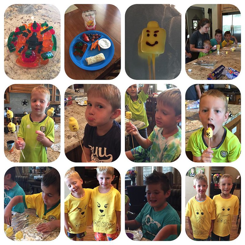 Lego camp was a success!!!  6 campers, Lego jello jigglers, Lego lunch, white chocolate covered marshmallow Lego heads, Lego shirts, and TONS of Lego play!!!