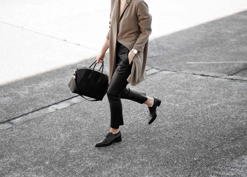 modern legacy, fashion blog, street style, minimal, leather pants, neutrals, Givenchy Antigona Medium, loafers, Stella McCartney shoes, Larsson Jennings silver watch, oversized blazer, ASOS (1 of 1)