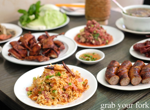 Lao fried rice, quail and sauage at Phounguen Lao and Thai Restaurant, Cabramatta