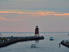 Charlevoix Lighthouse and Harbor Entrance at Sunset - Charlevoix - Michigan