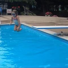 Look ma!  No #float!  #brave #bravegirl #swimming #pool #divingboard #braverthanmyheart