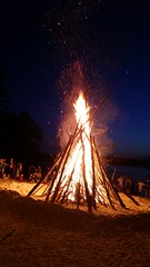 Harvard town bonfire at Bare Hill Pond beach