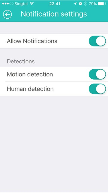 Beseye Pro - iOS App - Notification Settings