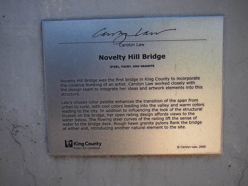 Novelty Hill Bridge Plaque